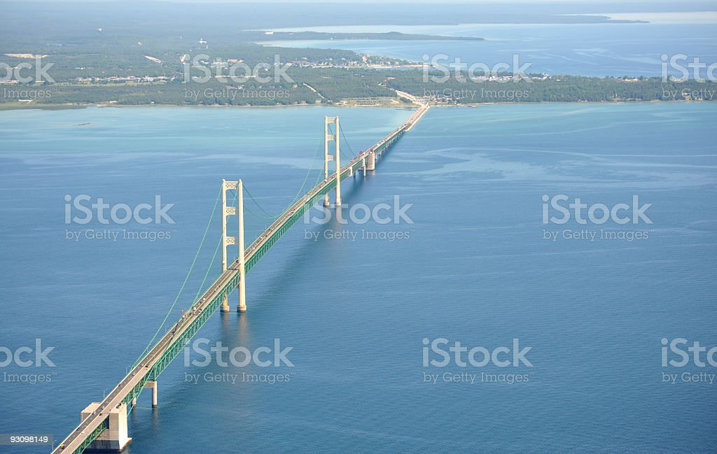 Aerial View of the Mackinac Bridge, Michigan, USA stock photo
