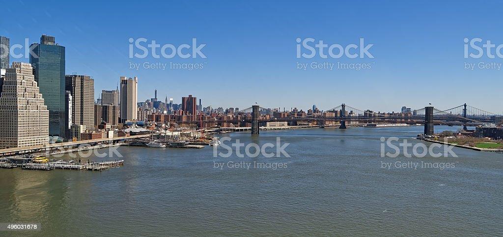Aerial view of the Manhattan Bridge and the Brooklyn Bridge stock photo