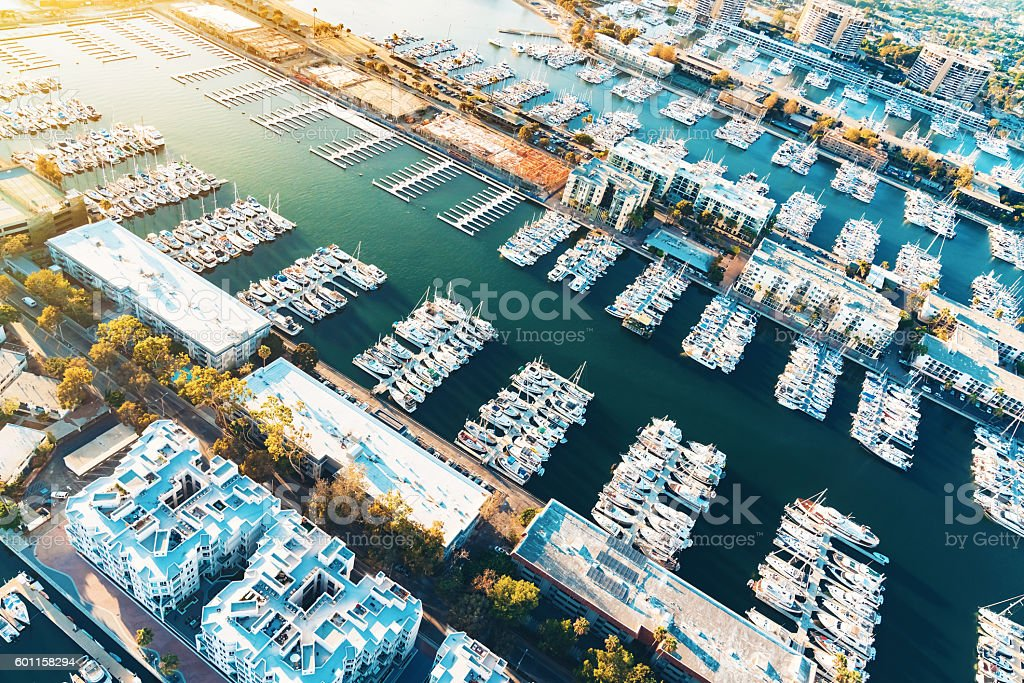 Aerial view of the Marina del Rey harbor in LA stock photo