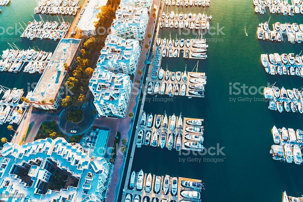 Aerial view of the Marina del Rey harbor in LA stock photo