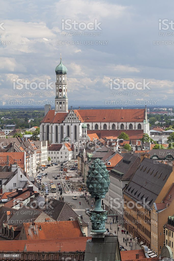 Aerial view of the Maximilian street in Augsburg stock photo