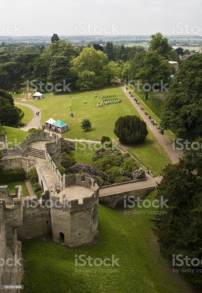 'Aerial view of the medieval castle in Warwick, England' stock photo