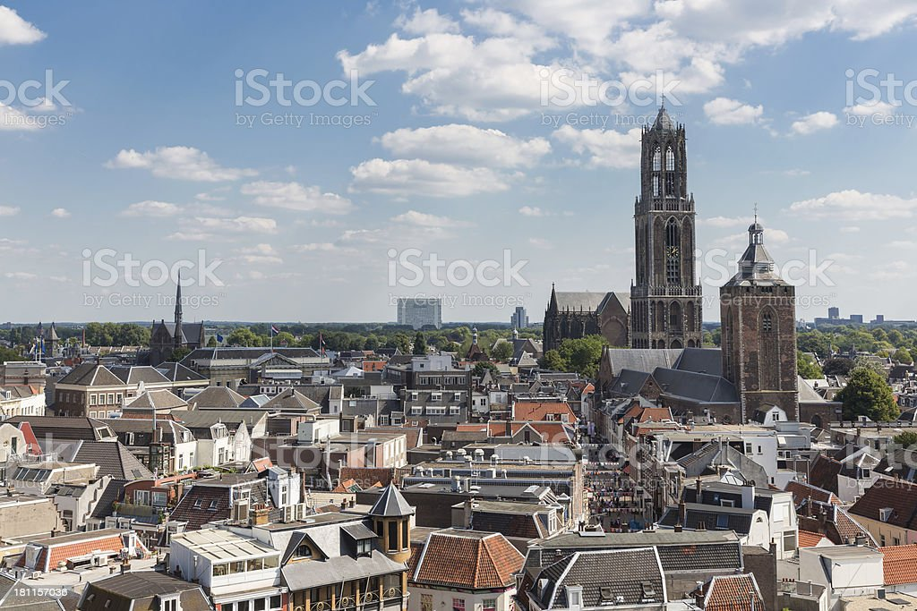 Aerial view of the medieval city of Utrecht, the Netherlands stock photo