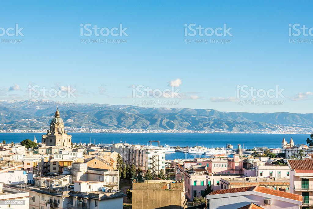 Aerial view of the Messina.  Sicily. Italy stock photo