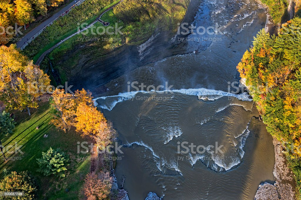 Aerial View Of The Middle Falls At Letchworth State Pa stock photo