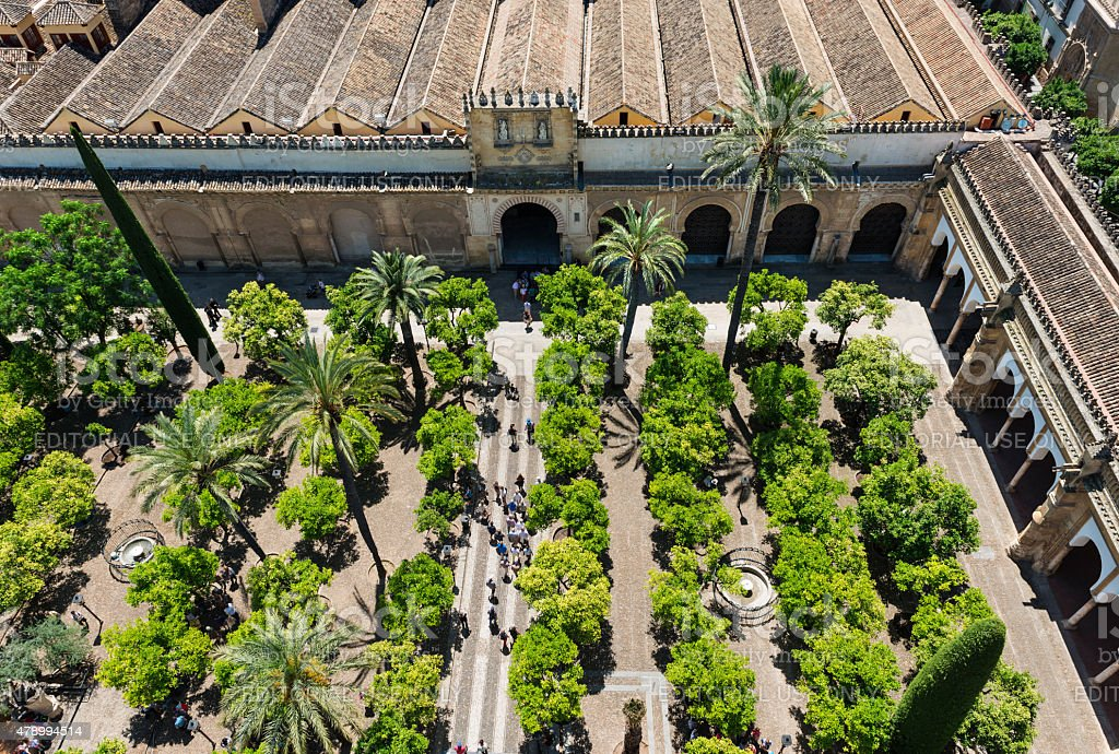 Aerial view of the Mosque Cathedral in Cordoba stock photo
