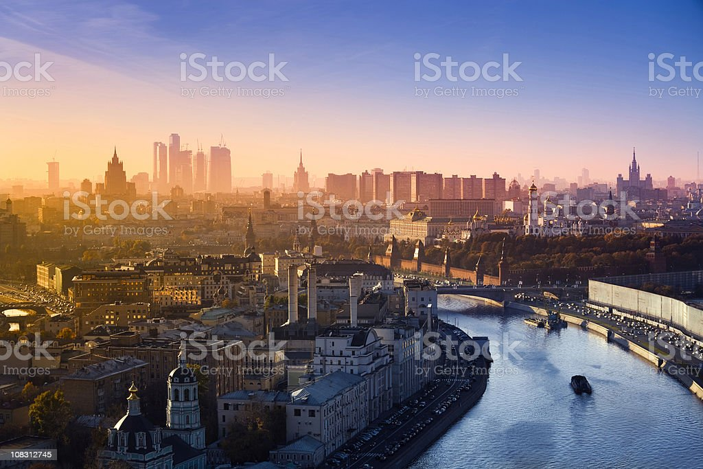 Aerial view of the most famous buildings in Moscow (XXXL) stock photo
