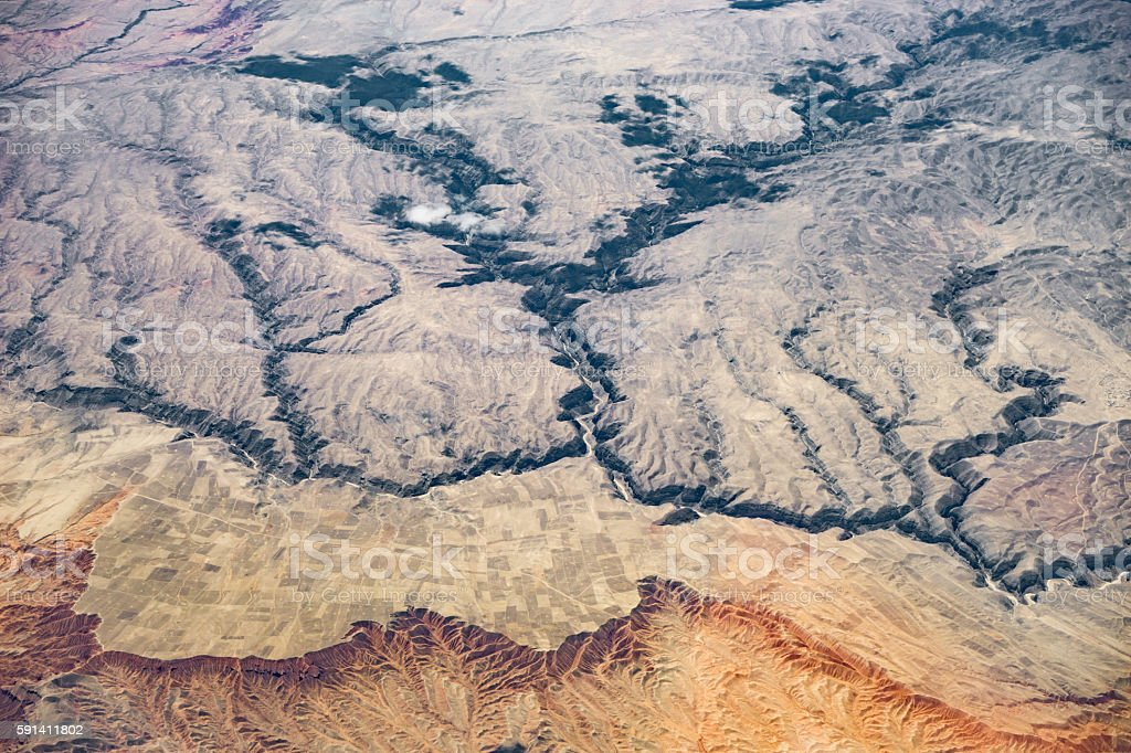 Aerial view of the mountains and valleys of Afghanistan stock photo