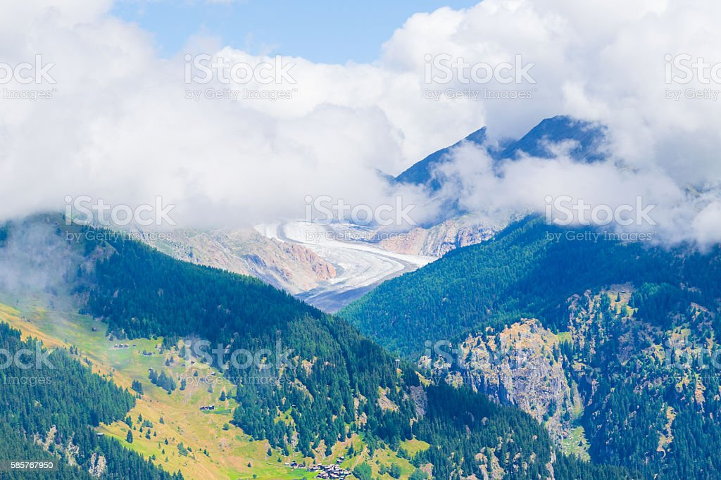 Aerial view of the mountains. stock photo