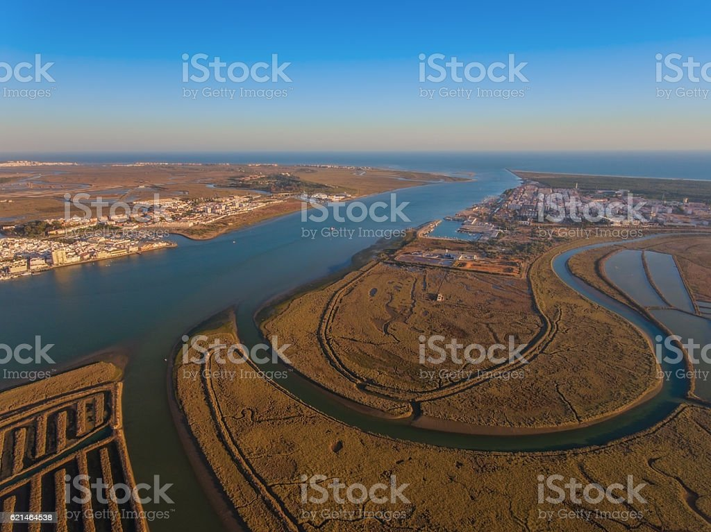 Aerial view of the mouth the Guadiana river stock photo