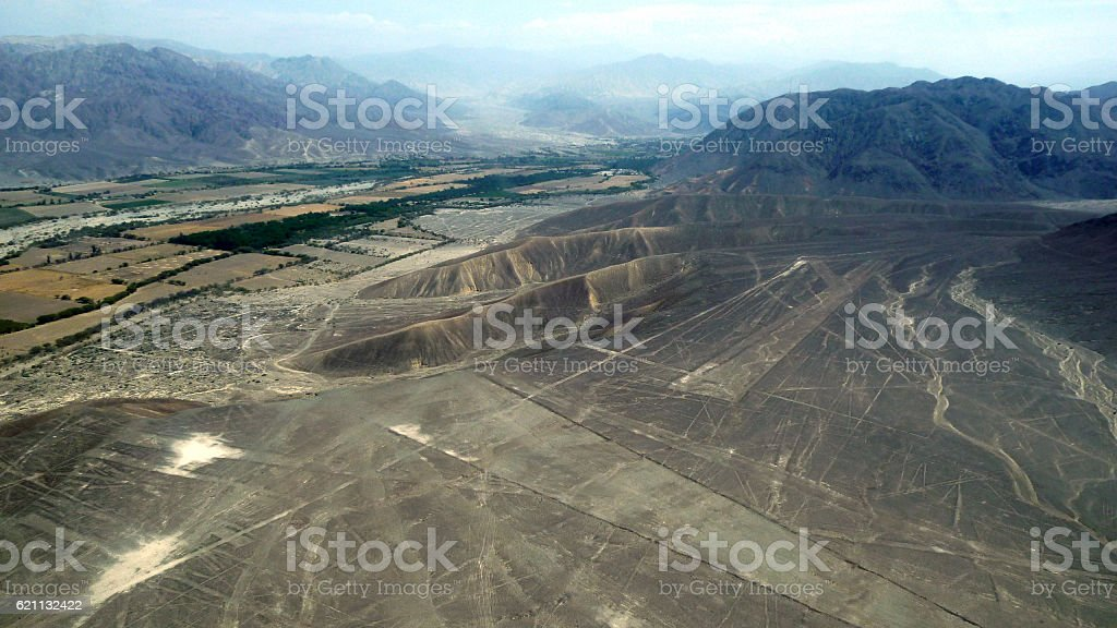 Aerial view of the Nazca Lines region stock photo