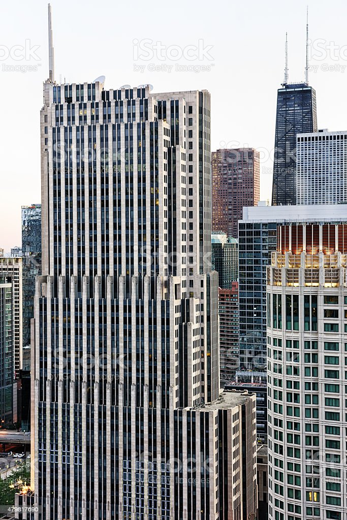 Aerial view of the NBC Tower, downtown Chicago stock photo