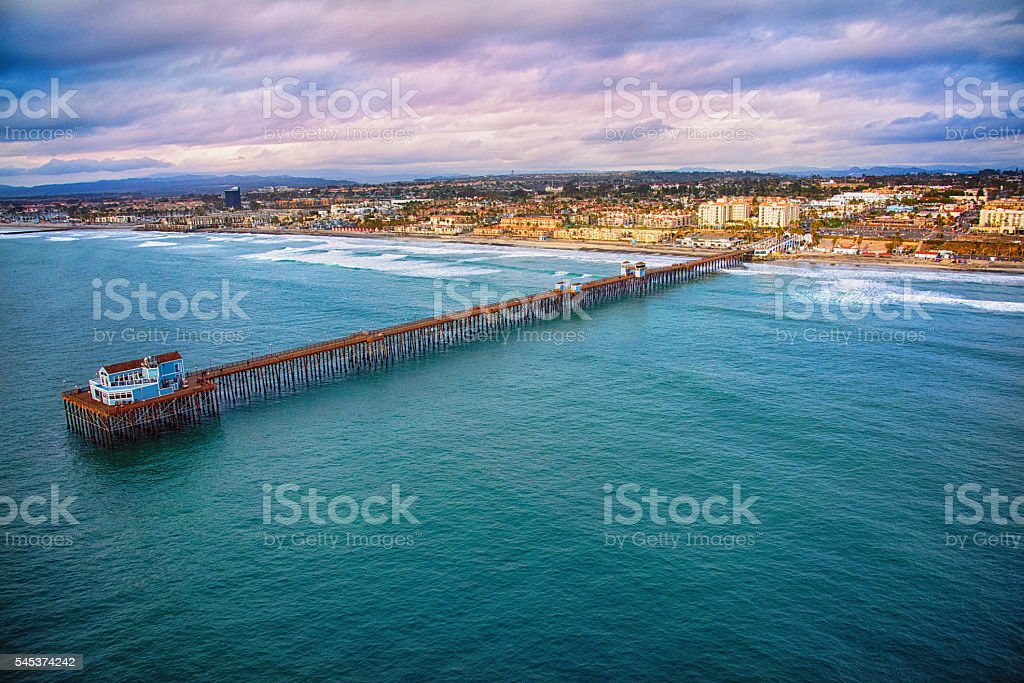 Aerial View of the Oceanside Pier in Northern San Diego stock photo