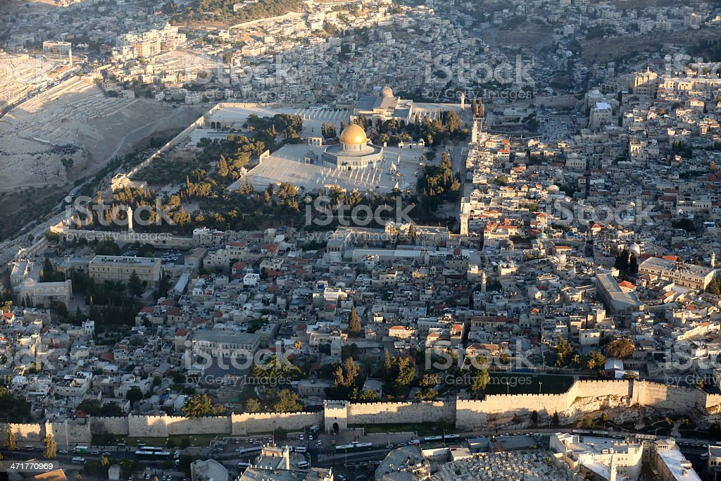 Aerial view of the Old City of Jerusalem Israel royalty-free stock photo