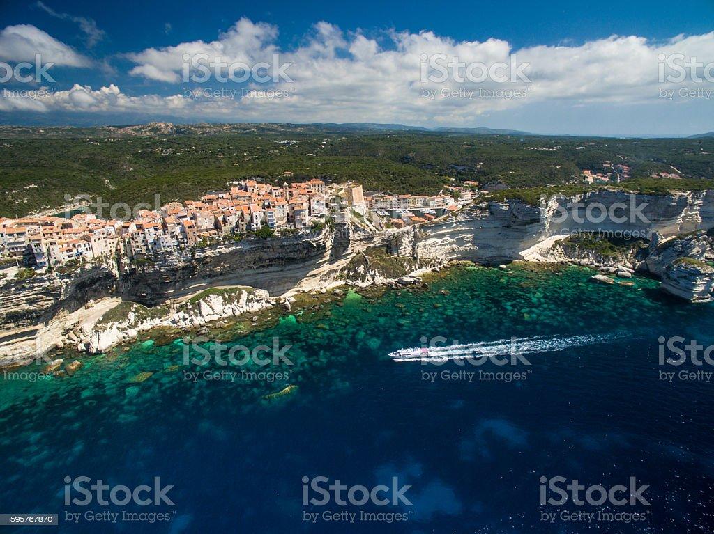 Aerial view of the Old Town Bonifacio stock photo