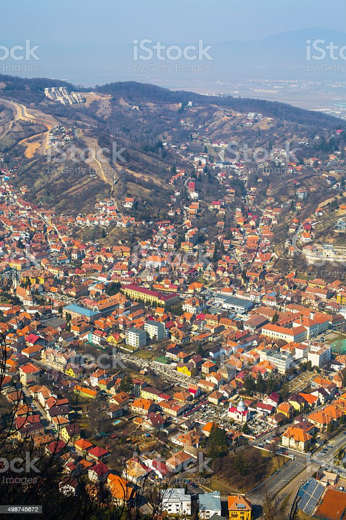 Aerial view of the Old Town, Brasov, Romania stock photo