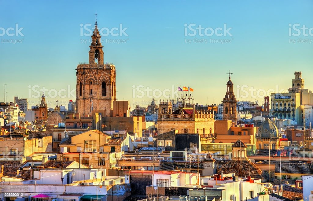 Aerial view of the old town in Valencia from Serranos stock photo