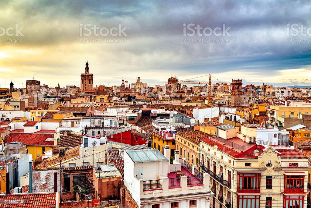 aerial view of the old town of Valencia, Spain stock photo