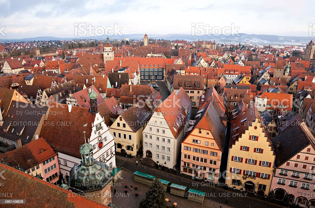 Aerial view of the Old Town, Rothenburg ob der Tauber stock photo