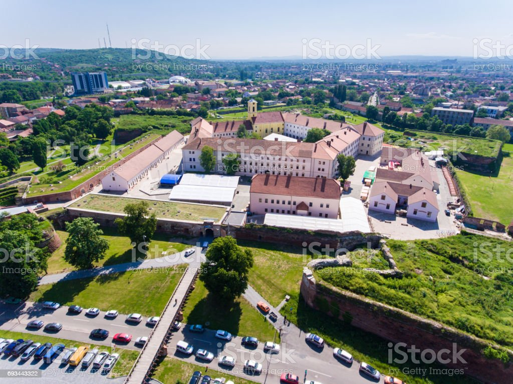 Aerial view of the Oradea Fortress stock photo