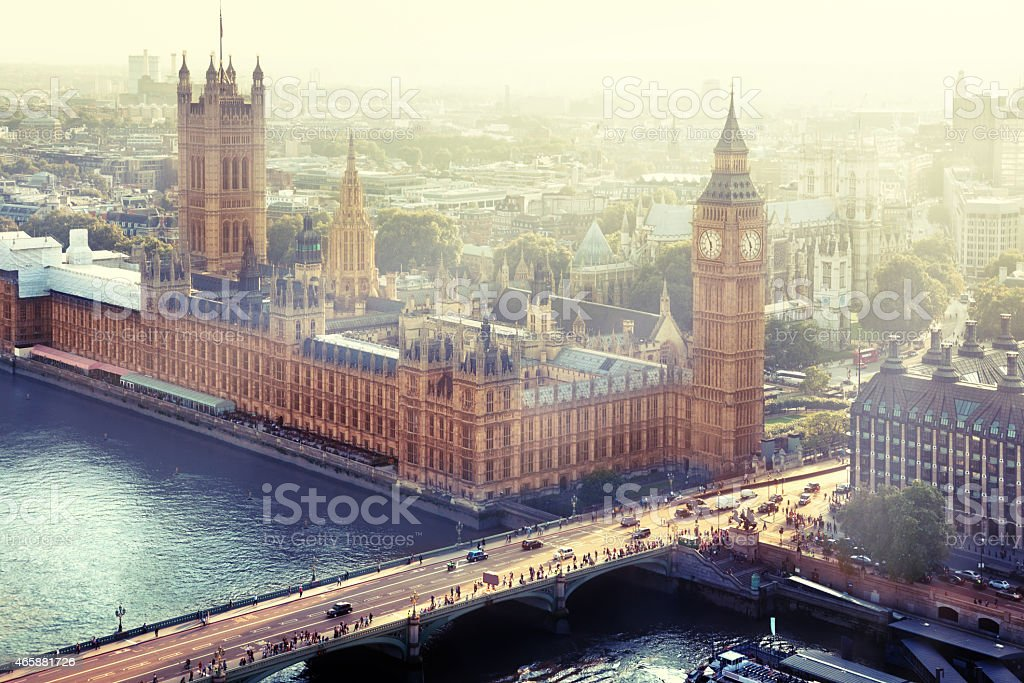Aerial view of the Palace of Westminster in London stock photo