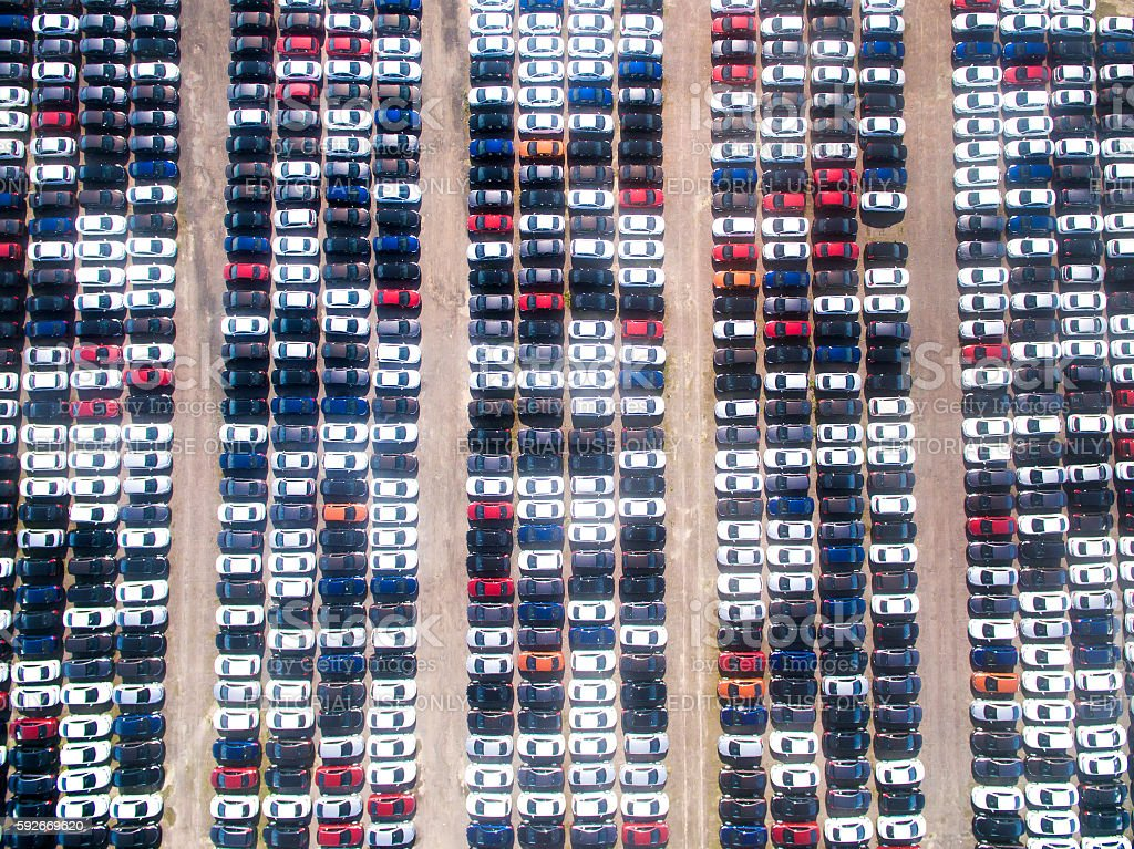 Aerial view of the Parking at the motor works stock photo