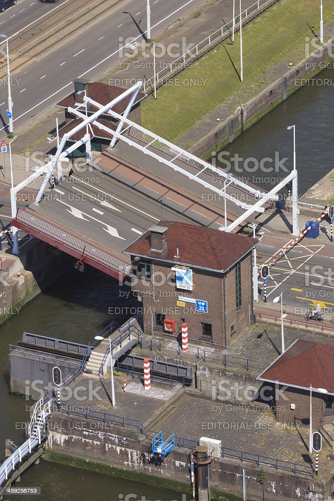 aerial view of the Parksluizen at Rotterdam stock photo