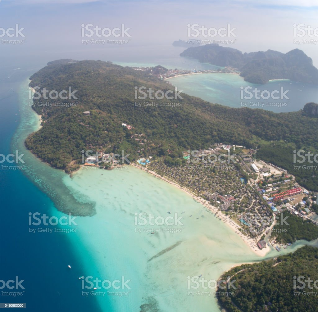 Aerial View of the Phi Phi Islands, Thailand stock photo