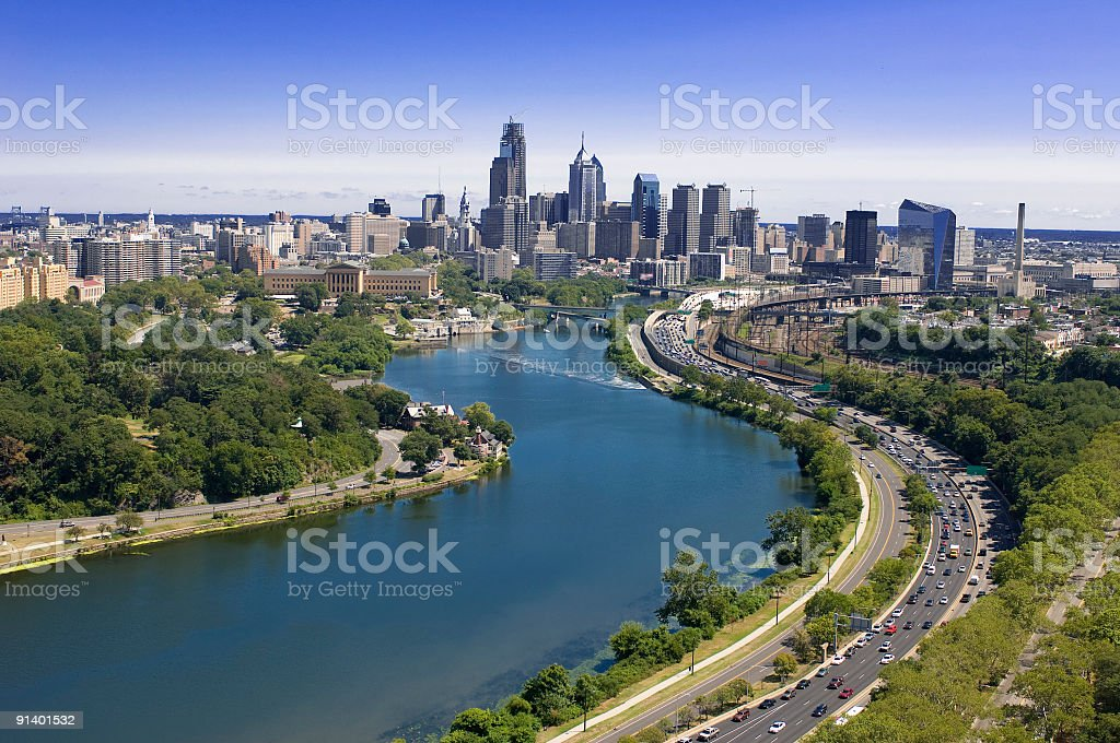Aerial View of the Philadelphia Skyline stock photo