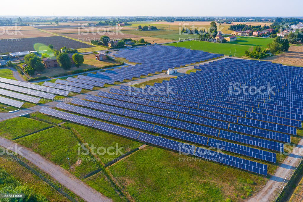 Aerial view of the photovoltaic system stock photo