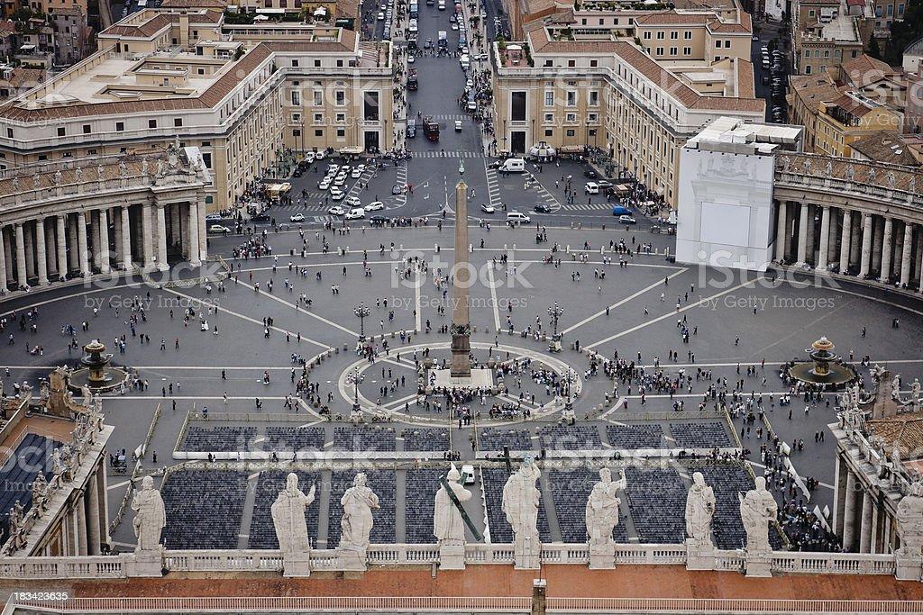 Aerial view of the Plaza de San Pedro stock photo