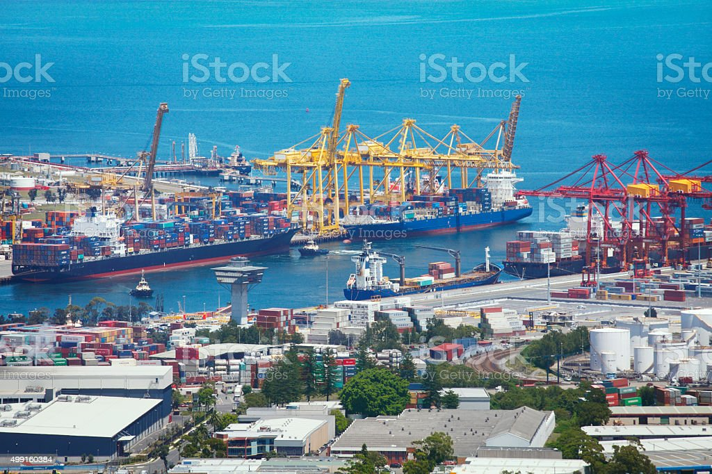 Aerial view of the Port Botany in Sydney stock photo