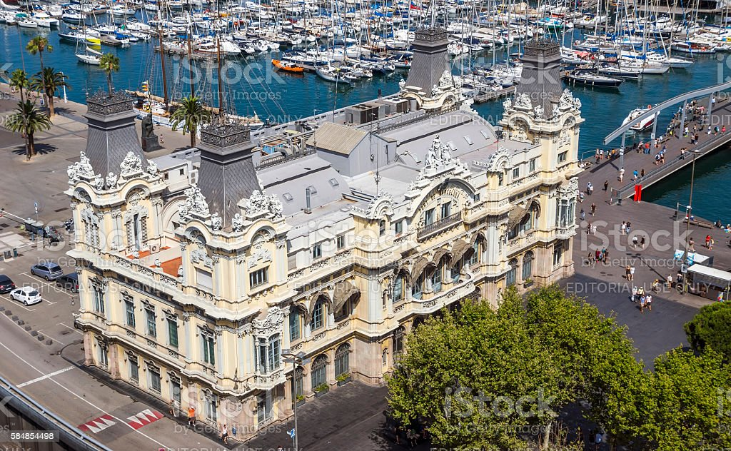 Aerial view of the port Vell in Barcelona stock photo