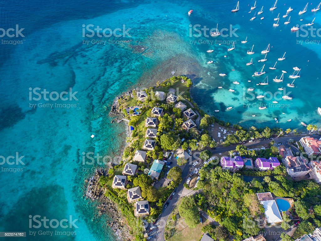 aerial view of the resort in Cruz Bay, St.John, USVI stock photo
