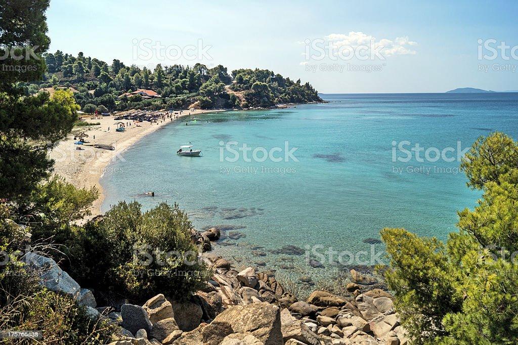Aerial view of the resort of Halkidiki peninsula in Greece stock photo