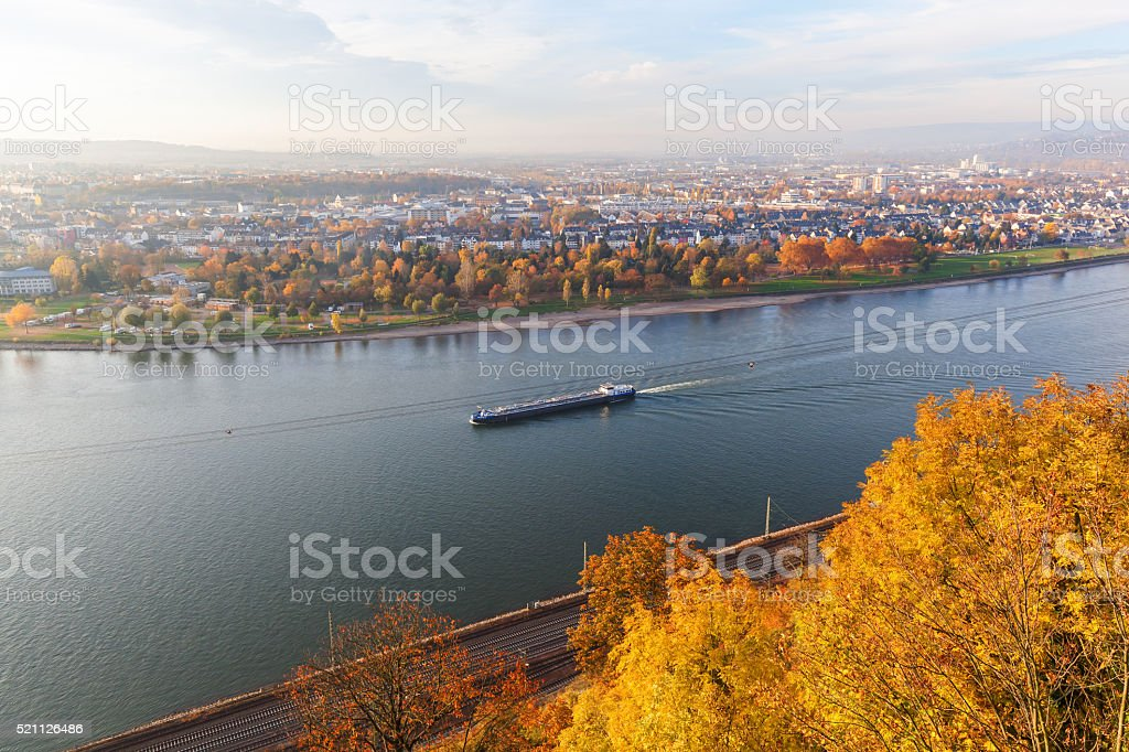 aerial view of the Rhine at Koblenz, Germany stock photo