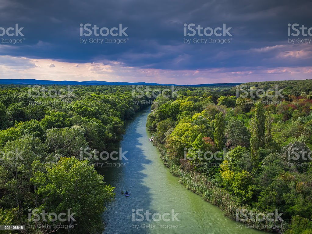 Aerial view of the river and boat stock photo