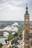 Aerial view of the river Ebro, bridges and Zaragoza city
