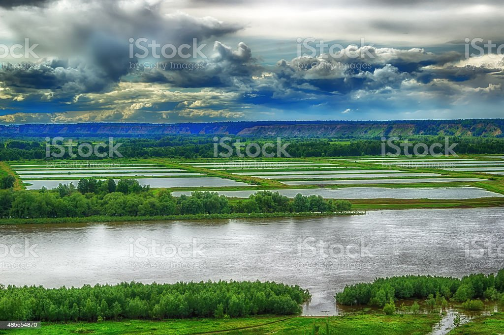 Aerial view of the River Irtysh Russia Siberia stock photo