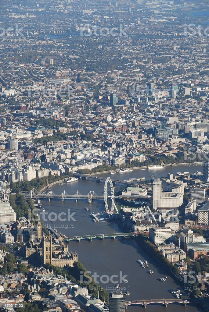 Aerial view of the River Thames in london city stock photo
