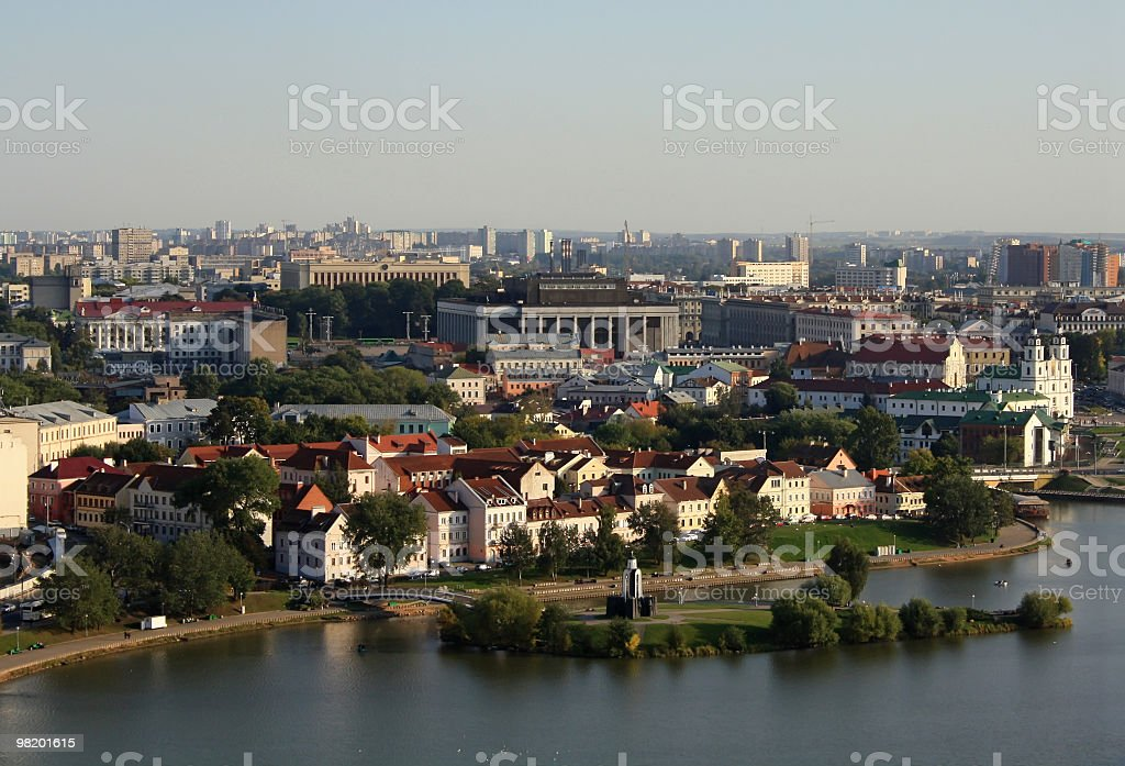 Aerial view of the riverside of Minsk, Belarus royalty-free stock photo