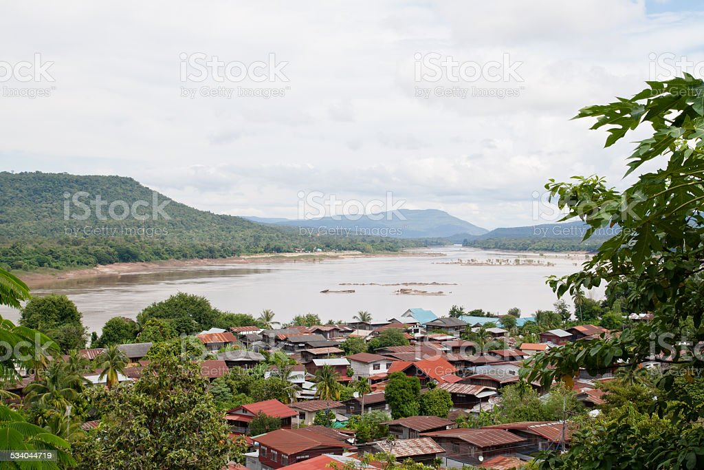 Aerial view of the riverside village of Khong Chiam in Thailand stock photo