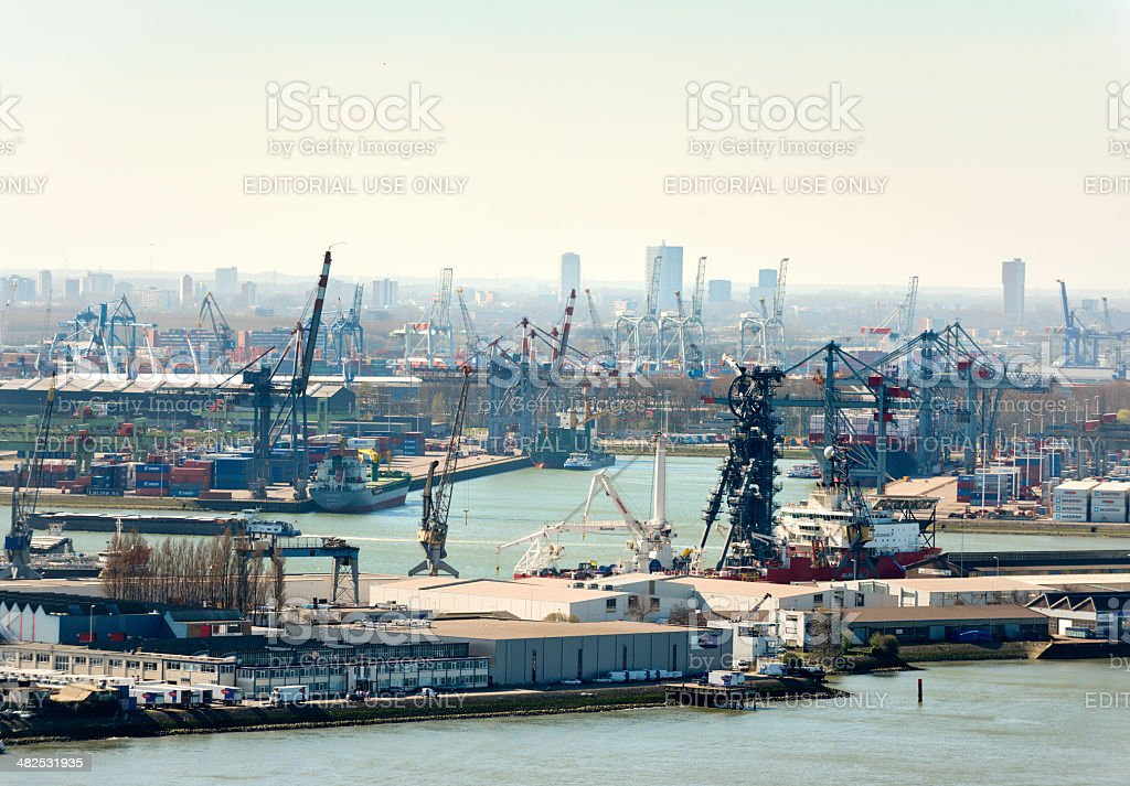 Aerial view of the Rotterdam harbour skyline stock photo