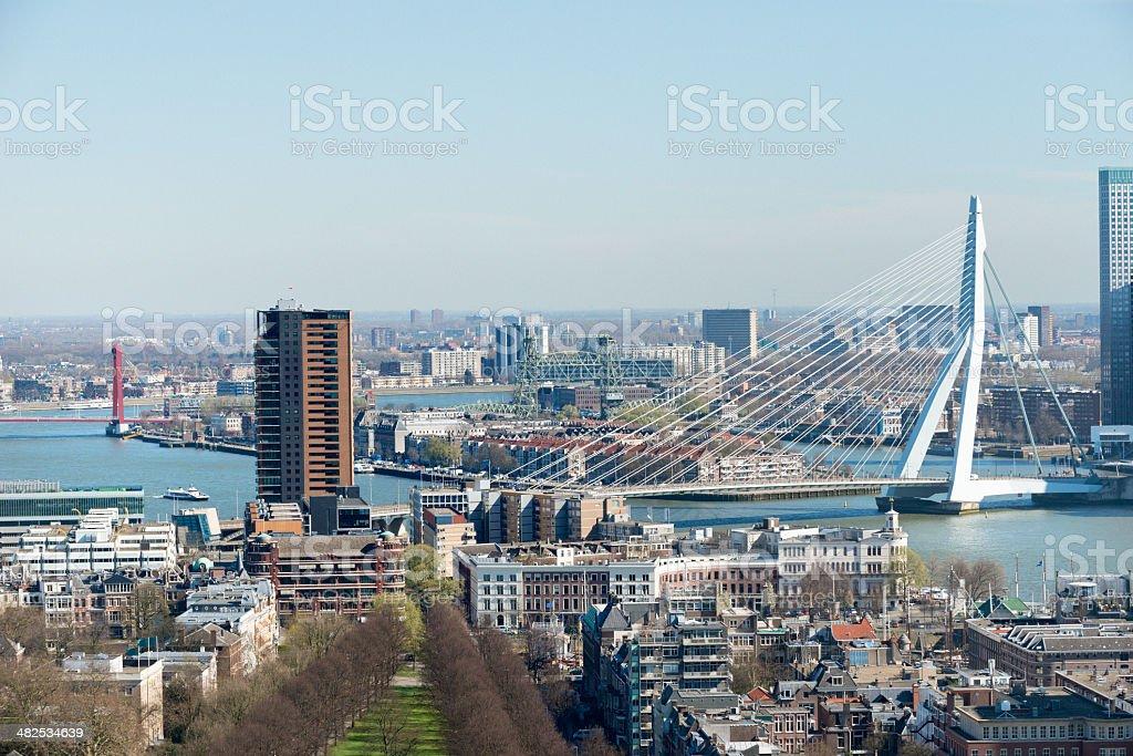 Aerial view of the Rotterdam skyline stock photo