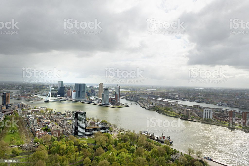 Aerial view of the Rotterdam skyline stock photo
