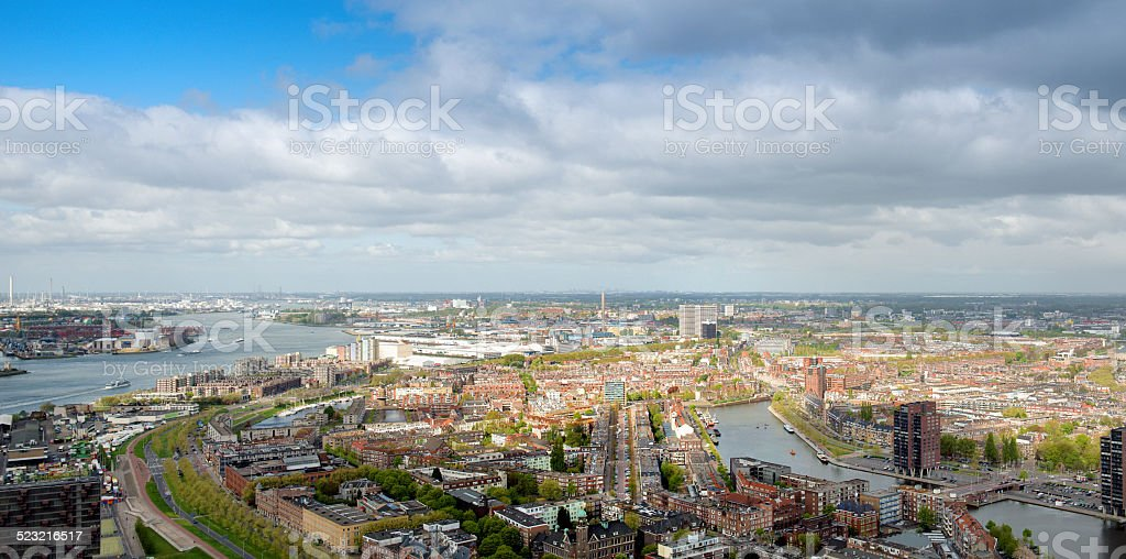 Aerial view of the Rotterdam skyline, view on  west side stock photo
