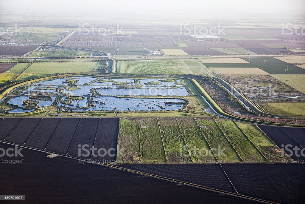 aerial view of the Sacramento valley fields in California stock photo