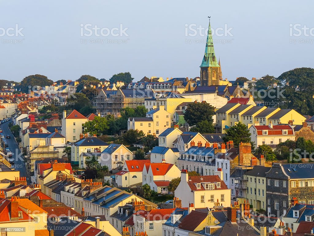 Aerial view of the Saint Peter Port at sunrise stock photo