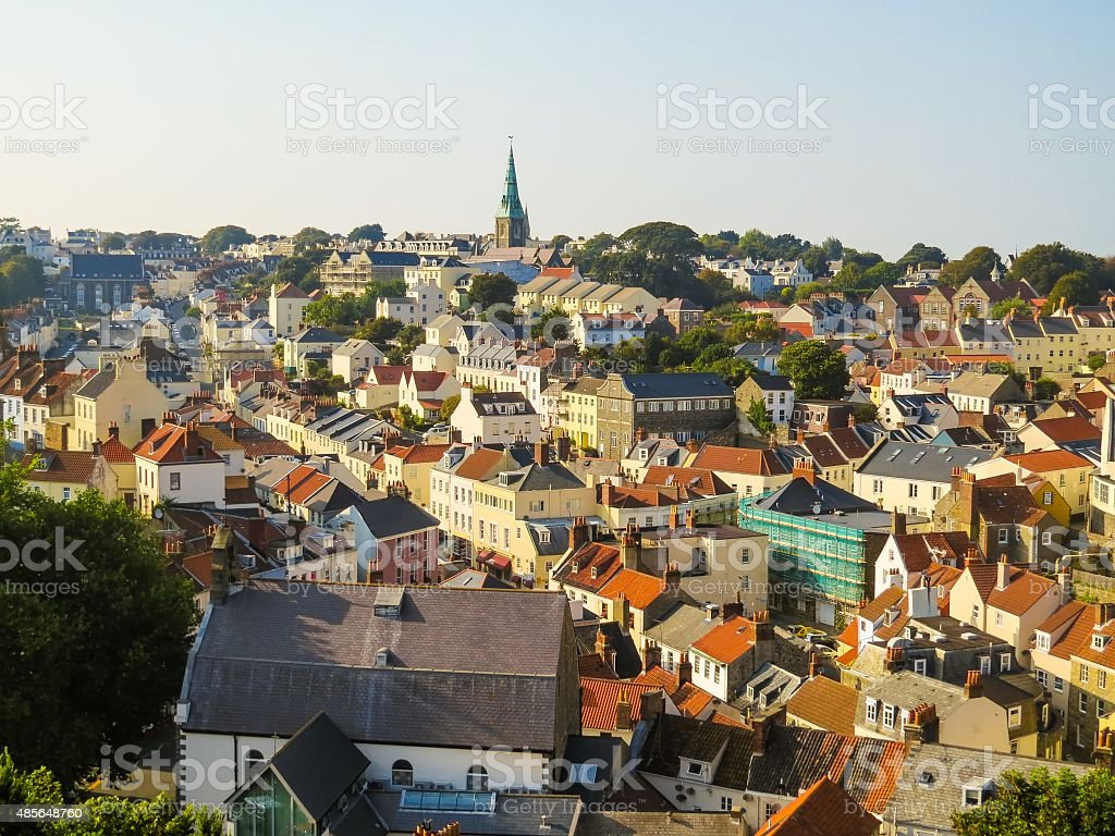 Aerial view of the Saint Peter Port at sunset stock photo