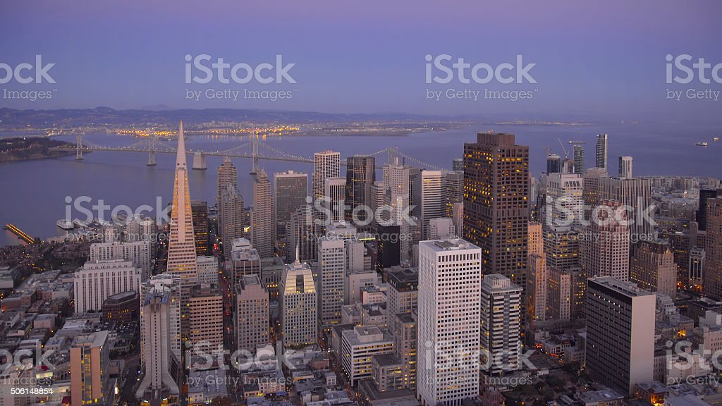 Aerial View of the San Francisco Skyline at Dusk stock photo